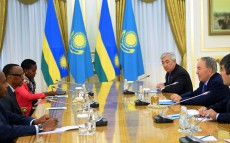 Meeting with President of the Republic of Rwanda Paul Kagame, who arrived in Kazakhstan on a working visit